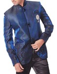 Mens Royal Blue 4 pc Tuxedo Suit Nehru Collar