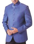 Mens Blue 2 Pc Tuxedo Suit Nehru Collar Style