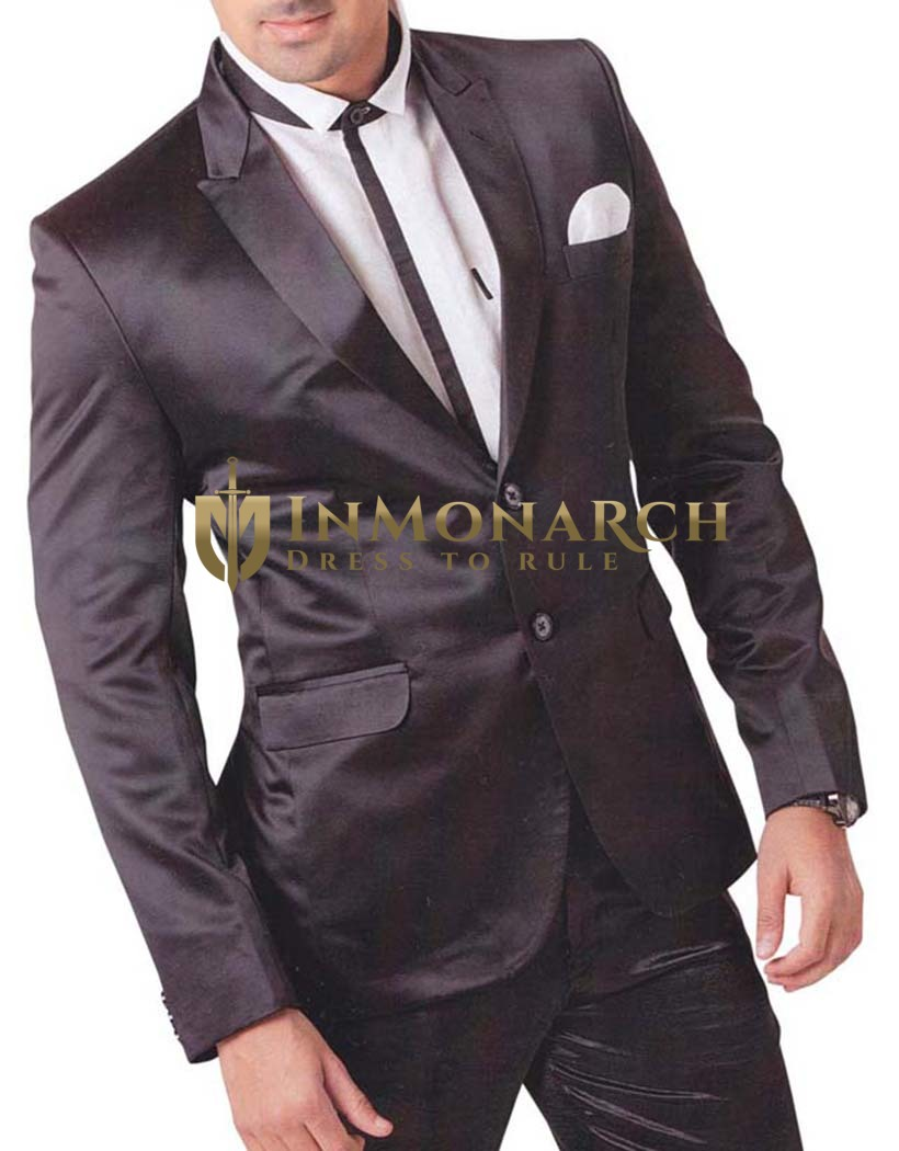 Mens Black 4 pc Tuxedo Suit Reception Two Button