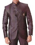 Mens Brown 4 pc Tuxedo Suit Angrakha Pattern