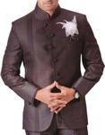 Mens Brown 4 pc Tuxedo Suit Angrakha Style