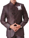 Mens Brown 4 pc Tuxedo Suit Angrakha Style