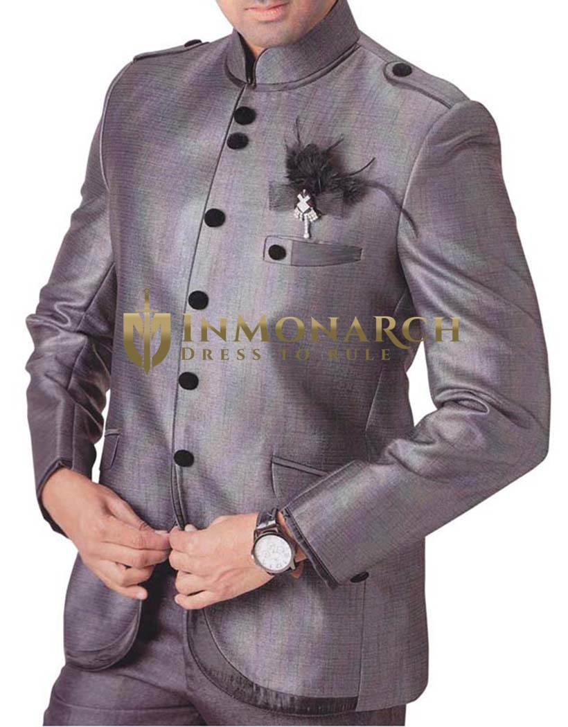 Mens Gray 3 pc Tuxedo Suit for Reception
