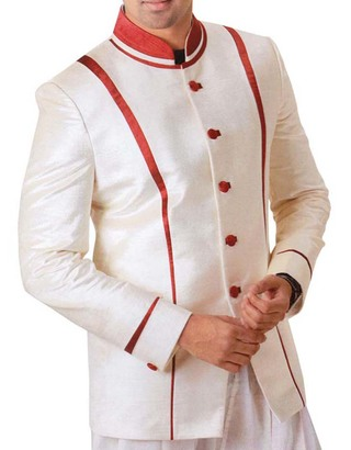 Mens Cream 2 Pc Tuxedo Suit Engagement