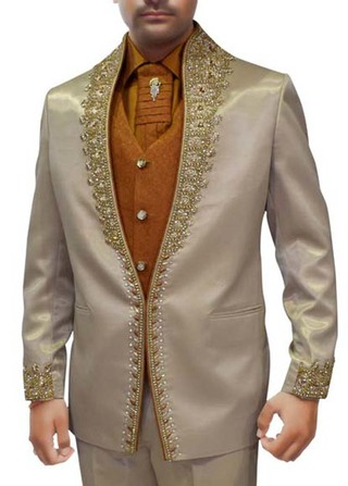 Mens Natural 6 Pc Tuxedo Suit Embroidered Wedding