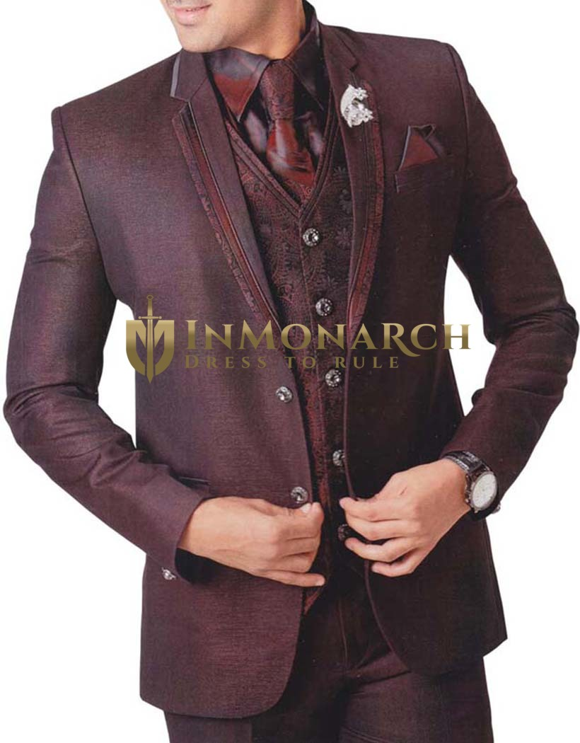 Mens Purple Wine 7 pc Tuxedo Suit Notch Lapel