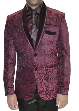 Mens Wine Velvet 5 Pic Tuxedo Suit Two Button
