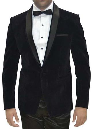 Mens Black Velvet 4 Pc Tuxedo Suit