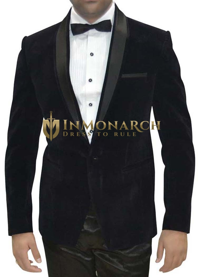 Mens Black Velvet 4 Pc Tuxedo Suit