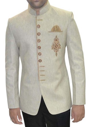 Mens Ivory Jute 3 Pc Embroidered Tuxedo Suit