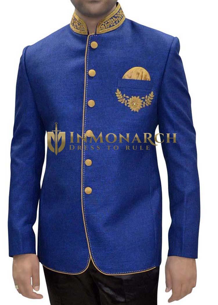 Mens Blue Jute 3 Pc Tuxedo Suit Nehru collar