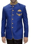 Mens Blue Jute 3 Pc Tuxedo Suit Nehru collar