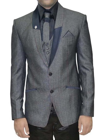 Mens Gray 7 Pc Polyester Tuxedo Suit
