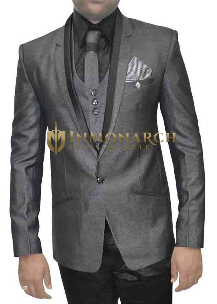 Mens Gray 7 Pc Tuxedo Suit Wedding