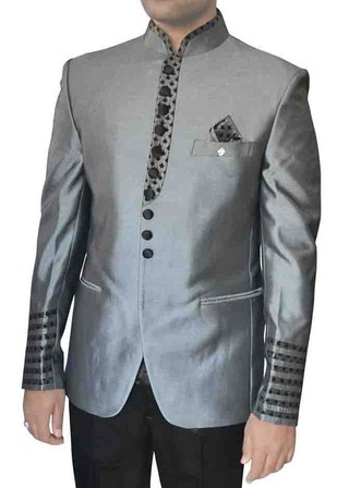 Mens Sharkskin 4 Pc Polyester Tuxedo Suit Band collar