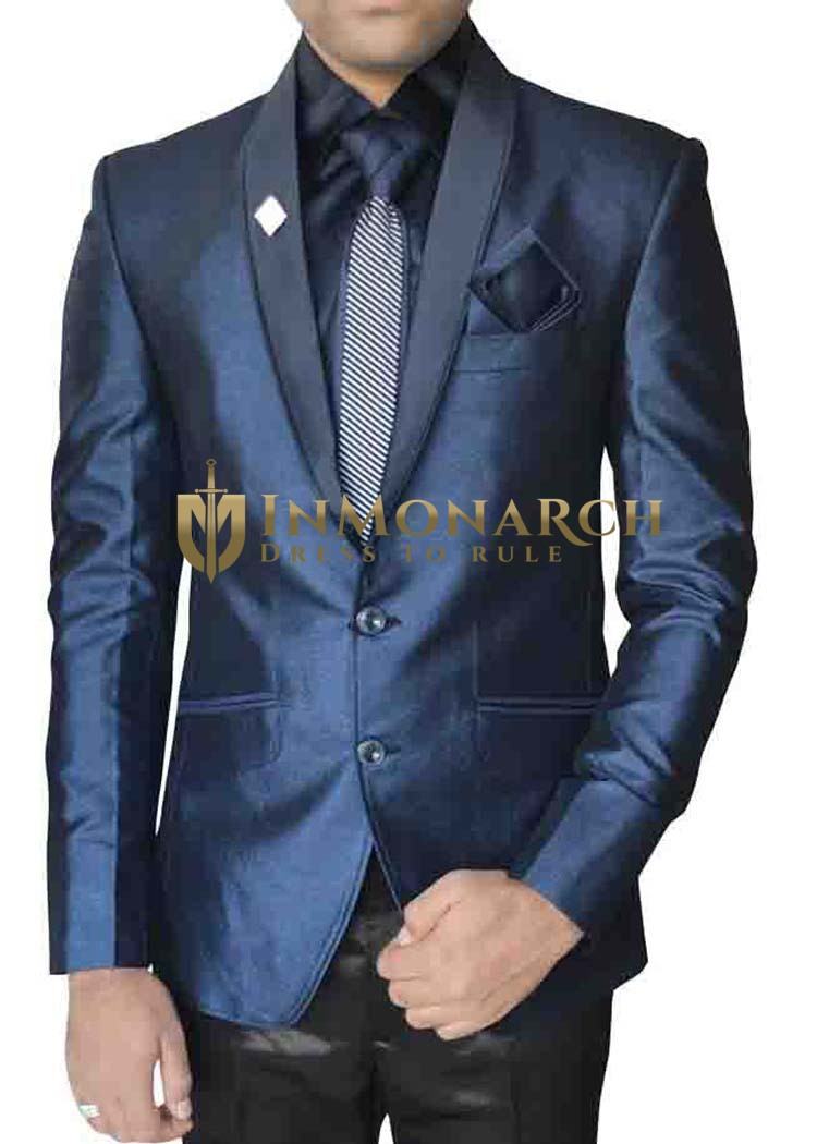 Mens Blue Polyester 6 Pc Tuxedo Suit