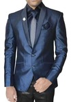 Mens Ink Blue Polyester 6 Pc Tuxedo Suit