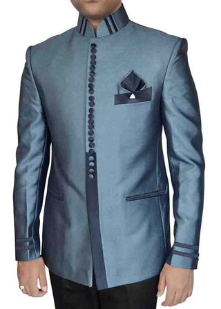Mens Steel Blue 4 Pc Nehru Collar Tuxedo Suit