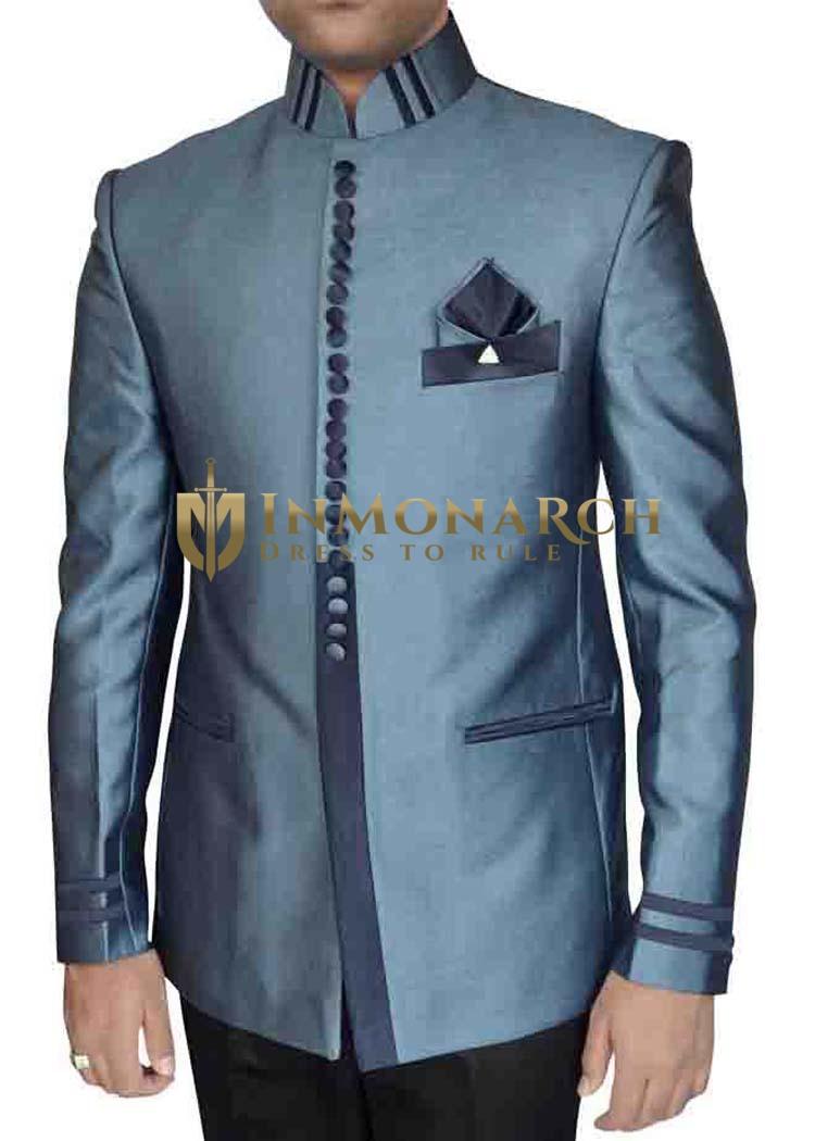 Mens Steel Blue 4 Pc Nehru Collar Tuxedo Suit