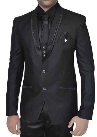 Mens Black 7 Pc Polyester Tuxedo Suit