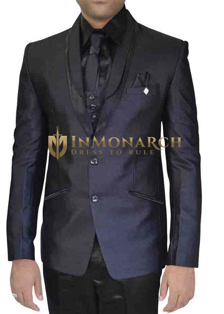 Mens Navy Blue 7 Pc Polyester Tuxedo Suit Two Button