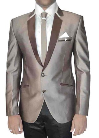 Mens Bronze 6 Pc Polyester Tuxedo Suit Two Button