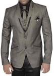 Mens Bronze 7 Pc Polyester Tuxedo Suit Two Button