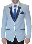 Mens Sky Blue 7 Pc Tuxedo Suit Two Button