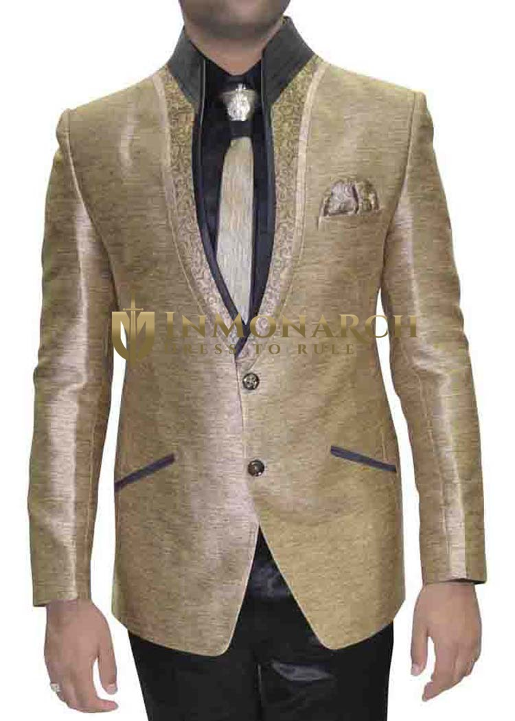 Mens Golden 6 Pc Polyester Tuxedo Suit