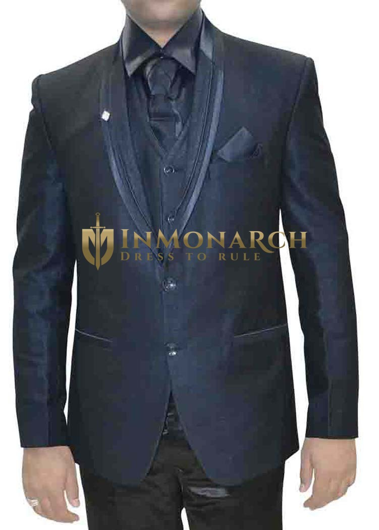 Mens Navy Blue Polyester 7 Pc Tuxedo Suit