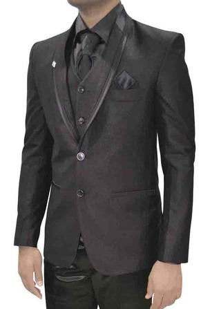 Mens Dark Gray Two Button 7 Pc Tuxedo Suit