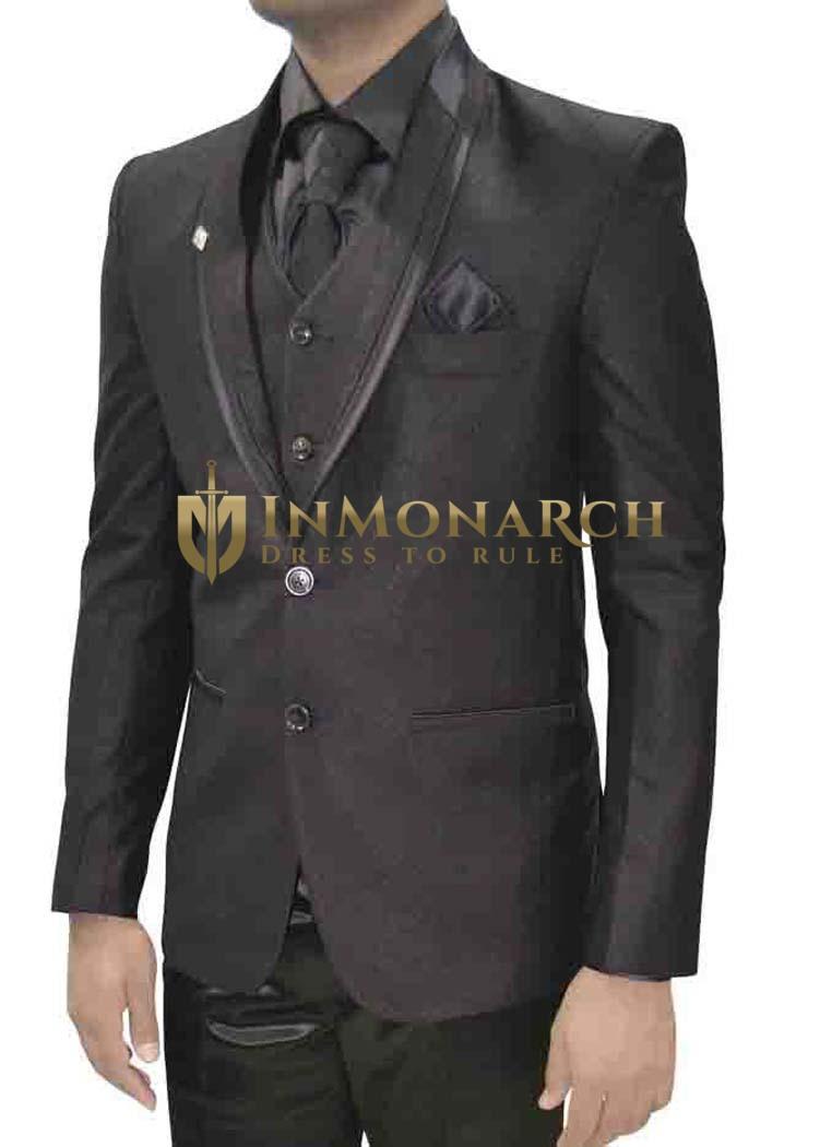 Mens Wine Two Button 7 Pc Tuxedo Suit