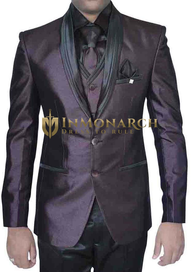 Mens Wine 7 Pc Tuxedo Suit Two Button