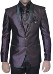 Mens Wine 7 Pc Tuxedo Suit Two Button
