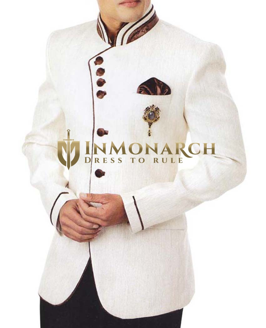 Mens White Jute 4 Pc Tuxedo Suit Brown Piping