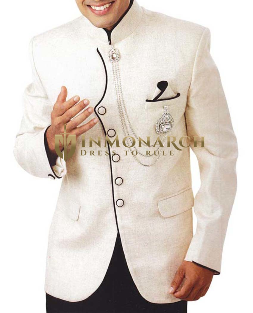 Mens Ivory 4 Pc Tuxedo Suit Indian Designer