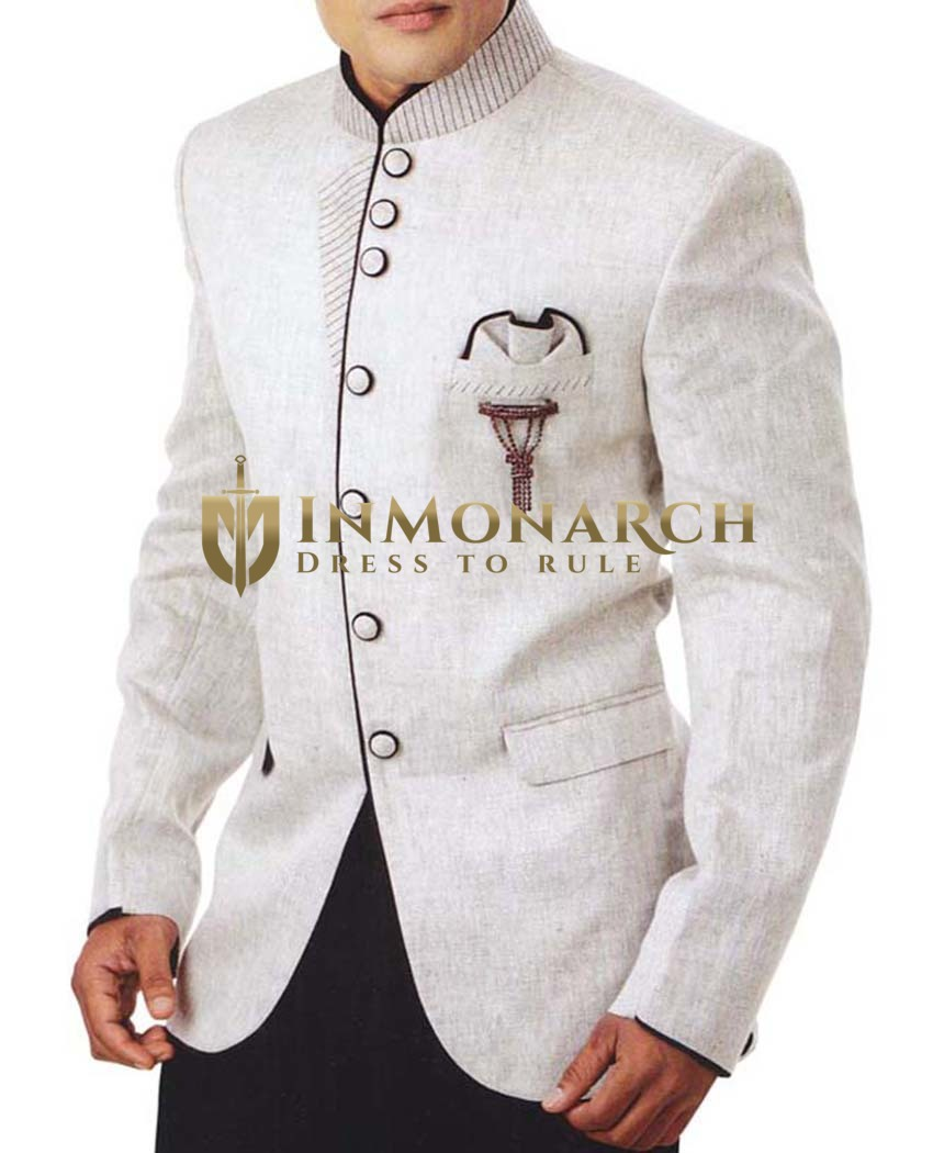 Mens Cream Linen 4 Pc Tuxedo Suit Bandhgala
