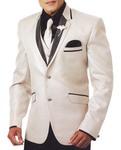 Mens Cream Tuxedo Suit 7 Pc Two Button