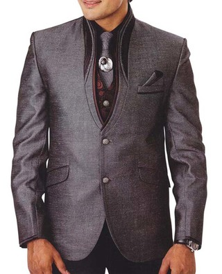 Mens Gray  7 Pc Tuxedo Suit Engagement