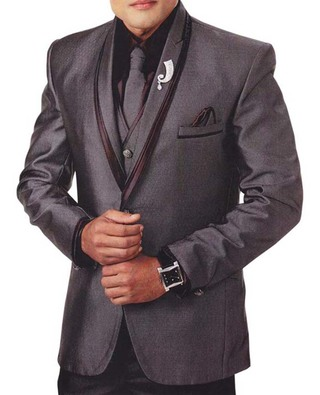 Mens Gray 7 Pc Tuxedo Suit V Neck Collar