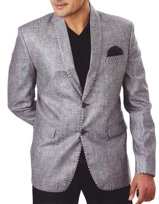 Mens Gray 3 Pc Tuxedo Suit Shawl Collar