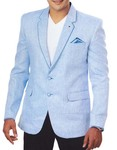 Mens Sky Blue 3 Pc Linen Tuxedo Suit