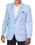 Mens Sky Blue 3 Pc Linen Tuxedo Suit