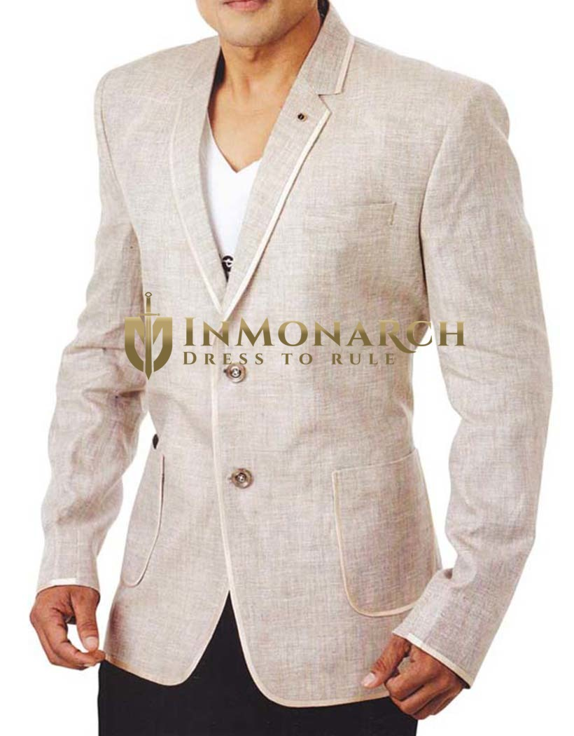 Mens Natural 2 Pc Linen Tuxedo Suit