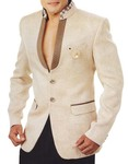 Mens Ivory 3 Pc Tuxedo Suit Patch Work