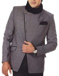 Mens Gray 3 Pc Tuxedo Suit Angrakha Style
