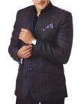 Mens Gray 3 Pc Tuxedo Suit Nehru Collar