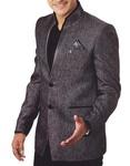 Mens Gray Jute 3 Pc Tuxedo Suit Jodhpuri