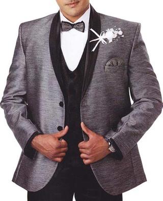Mens Gray Tuxedo Suit 7 Pc Shawl Collar