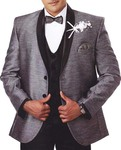 Mens Gray Tuxedo Suit 7 Pc Shawl Collar